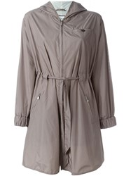Armani Collezioni Hooded Raincoat Grey