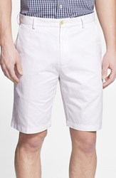 Men's Big And Tall Peter Millar 'Winston' Washed Twill Flat Front Shorts White