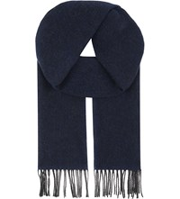 Aspinal Of London Reversible Merino Wool And Cashmere Scarf Grey