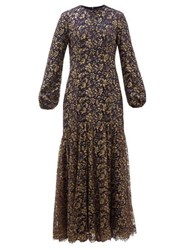 Rebecca De Ravenel Sofia Balloon Sleeve Metallic Lace Gown Navy Gold