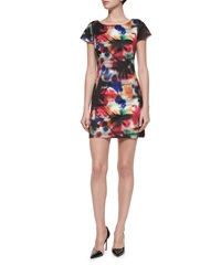 Milly Taylor Graffiti Print Dress Multi Colors