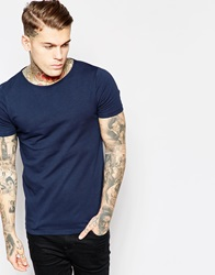 Asos Muscle Fit T Shirt With Boat Neck And Stretch Navy