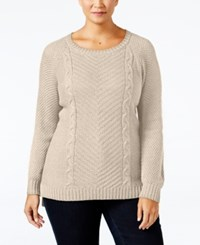 Ny Collection Plus Size Cable Knit Sweater Sahara Heather