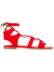 Stuart Weitzman Ankle Length Sandals Women Leather Suede 39 Red