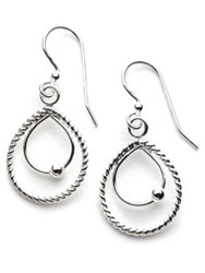 Lord And Taylor Sterling Silver Double Teardrop Drop Earrings