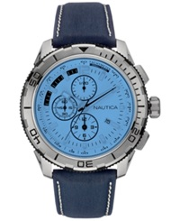 Nautica Men's Chronograph Navy Leather Strap Watch 48Mm Nad19519g Blue