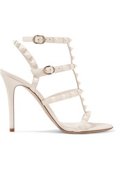 Valentino Garavani The Rockstud Leather Sandals Ivory