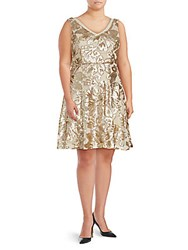 Marina Sequined Pleated Dress Gold