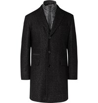 Hugo Boss Nido Slim Fit Virgin Wool Blend Boucle Coat With Detachable Quilted Shell Gilet Gray