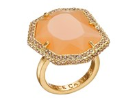 Vince Camuto Pave Border Stone Ring Worn Gold Milky Light Peach Light Peach Pave Ring