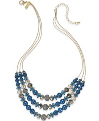 Inc International Concepts Gold Tone Teal Layer Drama Necklace Only At Macy's