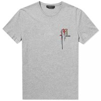 Alexander Mcqueen Multi Coloured Embroidered Logo Tee Grey
