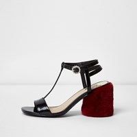 River Island Black T Bar Red Fur Block Heel Sandals