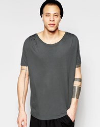 Asos Longline T Shirt With Pleated Shoulder And Stretch Neck In Drape Bamboo Fabric Plum Kitten Grey