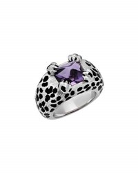 Christian Dior Estate 18K Amethyst And Onyx Animal Pattern Ring Size 5.5