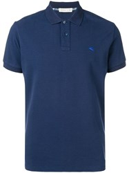 Etro Logo Short Sleeve Polo Top Blue