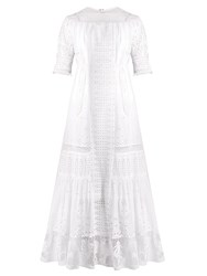 Loewe Lace Insert Broderie Anglaise Cotton Dress White