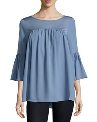 French Connection Polly Plains Fluted Sleeve Top Blue