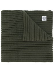 Stone Island Thick Ribbed Knit Scarf Green