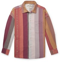 Remi Relief Striped Cotton And Wool Blend Shirt Pink