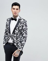 Noose And Monkey Tails Blazer In Black Floral Jacquard White