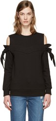 Sjyp Black Off Shoulder Knotted Pullover