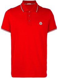 Moncler Short Sleeve Polo Shirt Red