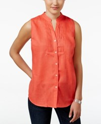 Charter Club Petite Linen Sleeveless Shirt Only At Macy's Modern Coral