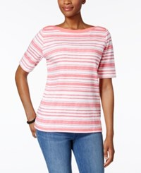 Karen Scott Striped Boat Neck Top Only At Macy's Peony Coral