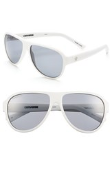 Women's Converse 'Tall Tale Teller' 60Mm Aviator Sunglasses Matte White
