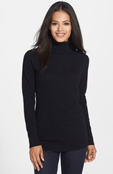 Nordstrom Women's Collection Long Cashmere Turtleneck Sweater Black