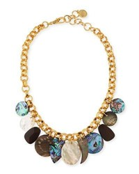 Nest Mother Of Pearl Chain Charm Necklace Gold