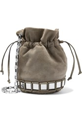 Tomasini Lucile Embellished Suede Bucket Bag Light Gray