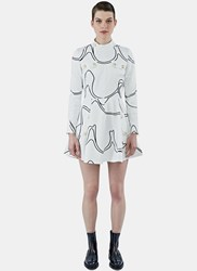 J.W.Anderson Mock Neck Printed Skater Dress White
