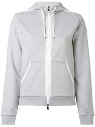 Moncler Zip Front Hoodie Women Cotton Polyester S Grey