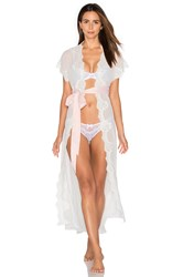Homebodii Farrah Long Lace Robe White