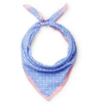 Anderson And Sheppard Printed Cotton Scarf Blue