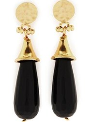 Ottoman Hands Elegant Onyx Earrings Gold Plated