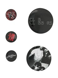 Raf Simons Set Of 5 Graphic Pins Silver