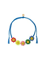 Venessa Arizaga Smiley Flowers Necklace Polyester Jade Ceramic Brass Blue