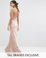 Jarlo Tall Cami Strap Slinky Maxi Dress With Lace Insert Nude Pink