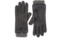Barneys New York Leather And Cashmere Gloves Gray
