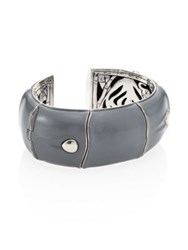 John Hardy Bamboo Large Enamel And Sterling Silver Kick Cuff Grey