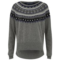 French Connection Women's Fran Fairisle Crew Neck Jumper Grey Melange