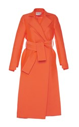 Maison Rabih Kayrouz Orange Satin Slit Trench