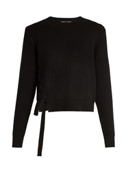 Proenza Schouler Lace Up Panel Wool And Cashmere Blend Sweater Black