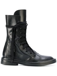 Ann Demeulemeester Lace Up Army Boots Calf Leather Leather Black