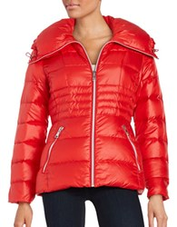 Karl Lagerfeld Fitted Puffer Jacket Red