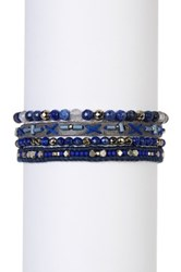 Chan Luu Leather And Bead Multi Strand Bracelet Blue