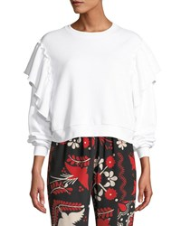 Red Valentino Crewneck Long Sleeve Cropped Sweatshirt W Ruffle Shoulders White